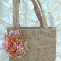 Flower Girl Burlap Basket With A Coral & Orange Floral Print Chiffon Flower Rustic, Barn, Country, Vintage, Beach Wedding