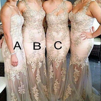 2016 Romantic Lace Beaded Long Bridesmaid Dresses For Wedding Party Gowns Maid of Honor Dress With Lace Appliques BD11