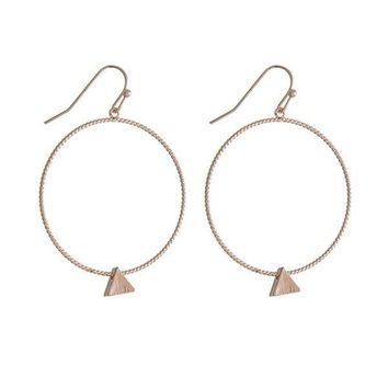 Rose Gold Tone Hoop Earrings with a Triangle Pendant