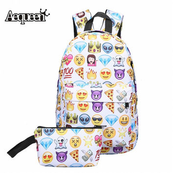 AEQUEEN 2PCS Canvas Backpack Women 3D Smile Face Printing Backpacks For Teenage Girls School Bags Travel Pack Cute Rucksack