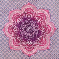 Pink Flower of Life Geometric Ombre Mandala Wall Tapestry on RoyalFurnish.com