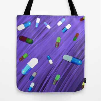 Purple Pattern Shapes Tote Bag by Saykada