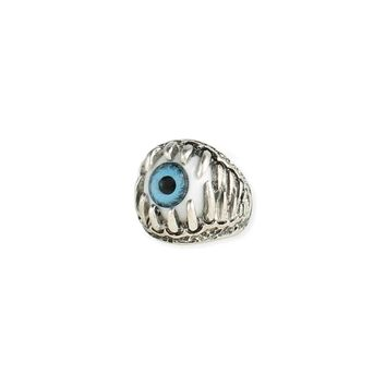 Eye See You Silver Jaws Blue Eye Ring