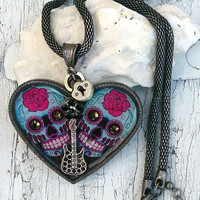 Heart Sugar Skull Necklace Day Of The Dead Guitar Necklace Skull Necklace