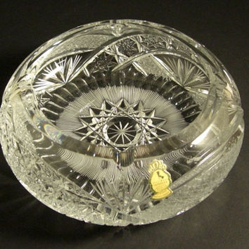 Extra Large Cut Glass Cigar Ashtray // Fine German Imperlux QUEENS LACE Lead Crystal w/ Original Tag // Cigarette