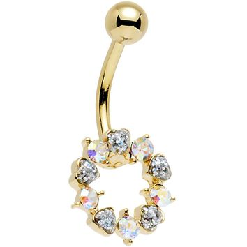 Clear and Aurora Gem Gold Plated Heart Wreath Ring Belly Ring