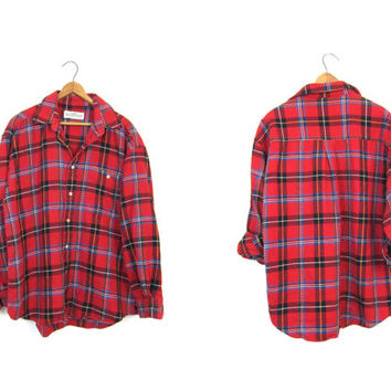 Red Blue Black Plaid Flannel Shirt 90s Grunge Shirt Button Up Long Sleeve 1990s Cotton Preppy Tomboy Boyfriend Work Shirt Vintage Mens Large