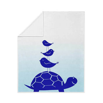 Turtle and Little Birdies Fleece Blanket