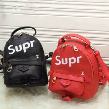 LV x Supreme :Women Casual School Bag Leather Backpack