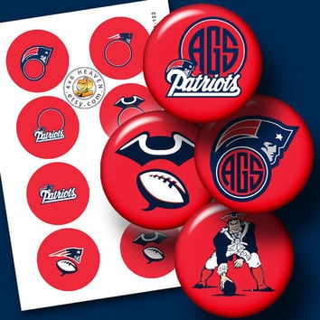 """New England Patriots Sport Logo Ditigal Collage Sheet - 1.313"""" circles Printable Digital Download for Buttons, Bottle Caps, Crafts CB-122"""