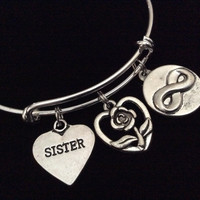 Friends Forever Sister Infinity Expandable Silver Charm Bracelet Adjustable Bangle Trendy Gift