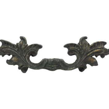 Ornate French Provincial Drawer Handles Pulls, Aged Patina Dark Brass Finish, Vintage Hardware, Kitchen Door Handles, Dresser Drawer Pulls