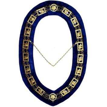 Knights Templar - Masonic Chain Collar - Gold/Silver on Blue + Free Case