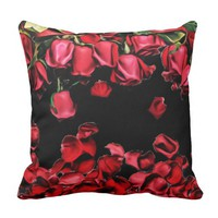 Large Flower Floral Falling Rose Petal Blossoms Throw Pillow