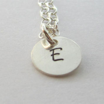 Tiny, Personalized, Initial Charm Necklace, Sterling Silver, Hand Stamped, Circle Pendant