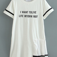 White Letter Pleated Side Casual Dress