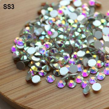 Hot Sale!SS3(1.3-1.5mm)1440pcs/bag Crystal AB Non Hot Fix FlatBack Rhinestones Glue-on Crystal Nail Art Stone for Fashion DIY