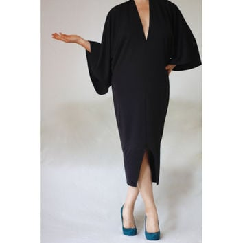 Black Deep V Neck Kimono Dress Sexy Bodycon Plus Size Evening Cocktail Formal Dress Little Black Dress Made to Measure Custom V Neck Dress