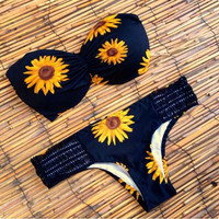 Sunflower Print Butterfly Bikini Swim Wear Sexy Low Waist Bathing Suit