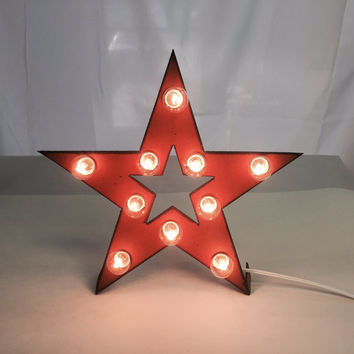 Mini STAR with STAR cutout Marquee Sign made of Rusted Recycled Metal Vintage Inspired