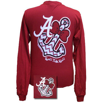 New Alabama Crimson Tide Chevron Anchor Bow Bright Long Sleeve T Shirt