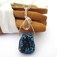 Blue Druzy Agate Necklace, Wire Wrapped, Sterling Silver, Stone Pendant, Colorful Rock Jewelry