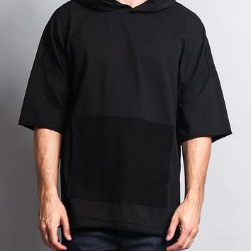 Men's Over Sized Hooded T-Shirt With Extended Hem TS7052 - GG1C