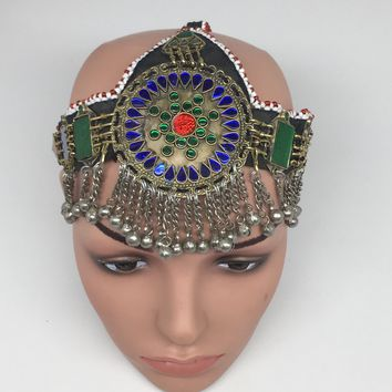 Kuchi Headdress Headpiece Afghan Ethnic Tribal Jingle Alpaca Silver Glass,CK628