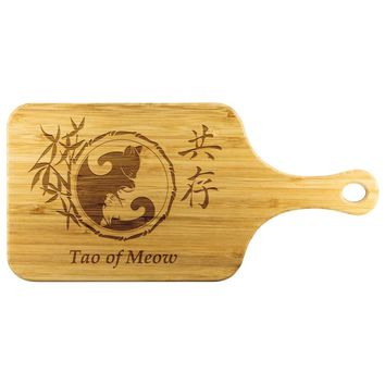 Tao Of Meow Yin And Yang Cat Wood Cutting Board With Handle