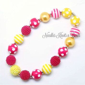 Girls Pink & Yellow Chunky Bead Bubblegum Necklace, Pink Lemonade Necklace, You Are My Sunshine Birthday Necklace
