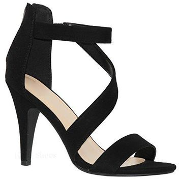 MVE Shoes Womens Cross Strap Open Toe Sandal  Back Zipper Low Heeled Sandals