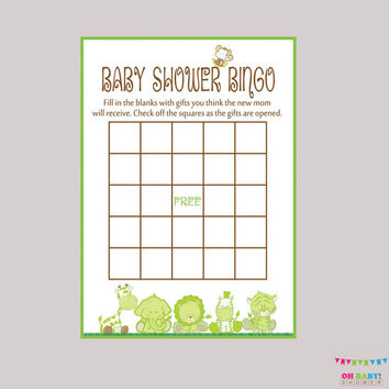 Baby Shower Bingo Gender Neutral Baby Shower - Bingo Cards - Digital Instant Download - Baby Shower - Safari Baby Shower Game - BS0001-G