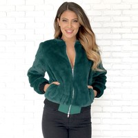 Jennifer Faux Fur Jacket in Green