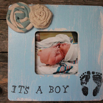 It's A Boy Picture Frame, Rustic Photo Frame, Blue Picture Frame, New Baby Frame, Foot Print Photo Frame