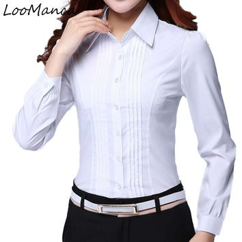 Fashion Formal Shirt Women Clothes New Slim Long Sleeve White Blouse Elegant OL Office Ladies Work Wear Plus Size Tops