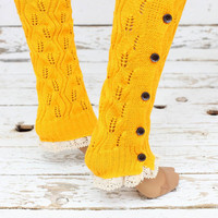 Knitted Leg Warmers Orange Lace Button Up Boot Toppers with Open Lace Knit Crochet Lace Buttons for Stocking Stuffers soft leg warmers