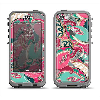 The Colorful Pink & Teal Seamless Paisley Apple iPhone 5c LifeProof Nuud Case Skin Set