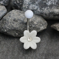 Flower Belly Button Rings, Daisy Belly Button Piercing, Plastic Navel Ring, White Navel Jewelry, Crystal Belly Piercing, Navel Piercing