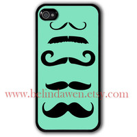 mint green iphone case, iPhone 4 Case, iphone 4s case, mustache iphone case, mustache, mustache graphic iphone 4 case
