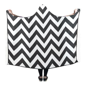 Hooded Blanket Stripe Chevron 80x53 Inch