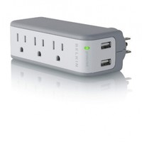 Belkin BZ103050vTVL Mini 3 AC outlet Wall Mount Surge Protector with Dual USB Chargers
