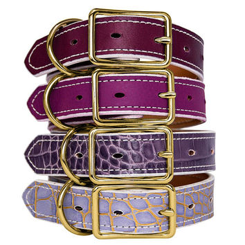 Classic Leather Dog Collar Gold Handmade in 31 Colors, Lavender Croc Plum Lilac Croc Orchid