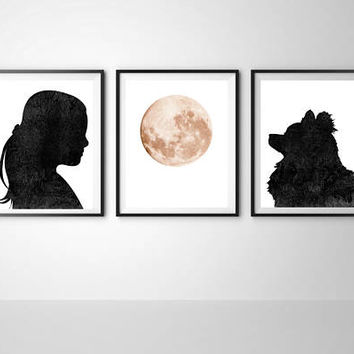 Girls room decor, Modern wall, Triptych dog art, Dog print, Girl print,Dog printable, Digital print, Moon print, Pomeranian, Set of 3 print