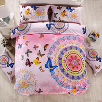 Boho bohemian style butterfly bedding sets girls bright 4pc duvet cover set queen size 100% Cotton bed linen moon love guitar