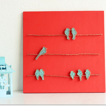 Birds on a wire String Wall Art