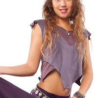 ORGANIC LOTUS VEST lilac & purple psy hippy top, trance clothing, organic cotton top, pixie top, pixie clothing, psy top, boho crop festival