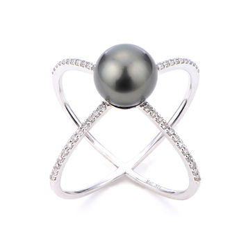"Imperial Pearls By Josh Bazar: Tahitian Pearl & Diamond ""X"" Ring in 14K Gold"