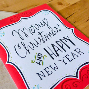 Merry Christmas and Happy New Year Greeting Card - hand-drawn, paper goods, greeting card, holidays, christmas, tis the season