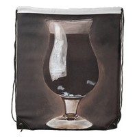 Dark Beer in Tulip Glass Porter Stout Painting Art Drawstring Bag