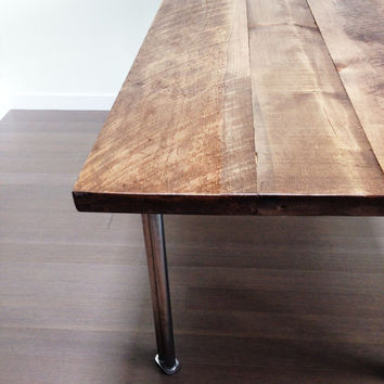 Reclaimed Wood Dining Table with Recycled Stainless Steel Legs
